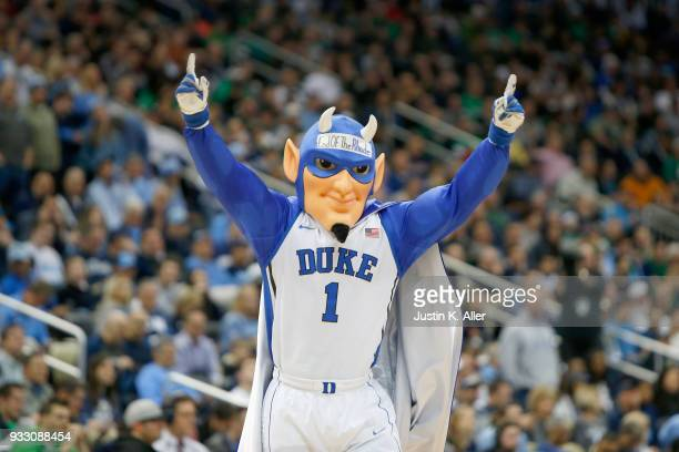 The Duke Blue Devils mascot performs against the Rhode Island Rams during the first half in the second round of the 2018 NCAA Men's Basketball...