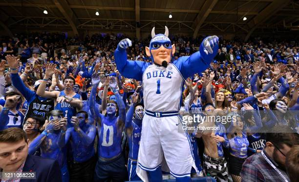 The Duke Blue Devils mascot performs during the first half of their game against the North Carolina Tar Heels at Cameron Indoor Stadium on March 07,...