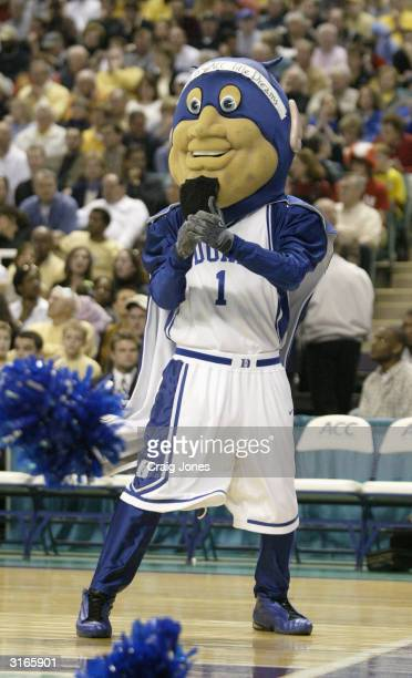 The Duke Blue Devils mascot performs on the court in the ACC Semifinal game against the Georgia Tech Yellow Jackets on March 13, 2004 at the...