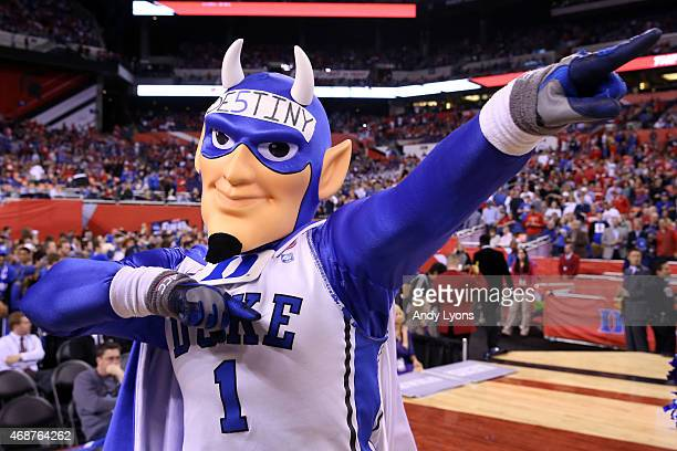 The Duke Blue Devils mascot performs prior to the NCAA Men's Final Four National Championship against the Wisconsin Badgers at Lucas Oil Stadium on...