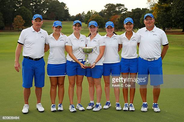 The Duke Blue Devils pose with the trophy after winning the 2016 East Lake Cup at East Lake Golf Club on November 2 2016 in Atlanta Georgia