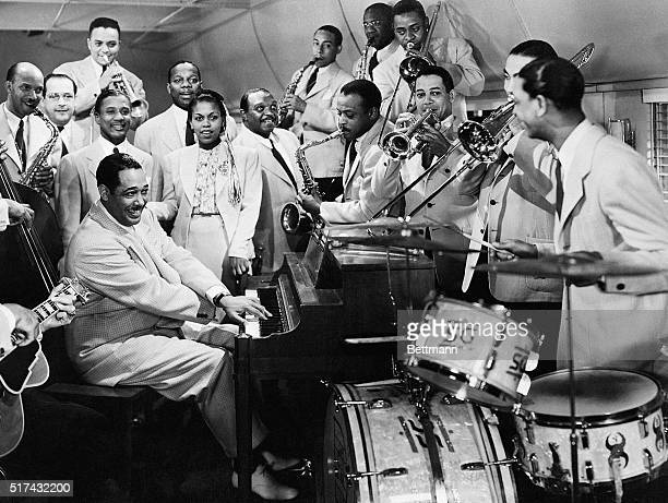 The Duke Ellington Orchestra performs Take the A Train with singer Bette Roche in the film Reveille with Beverly released January 1943