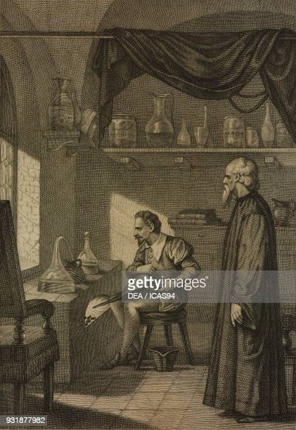 The Duke Emanuele Filiberto of Savoy and Filiberto Pingone Italian historian engraving by Buccinelli after a drawing by Masutti