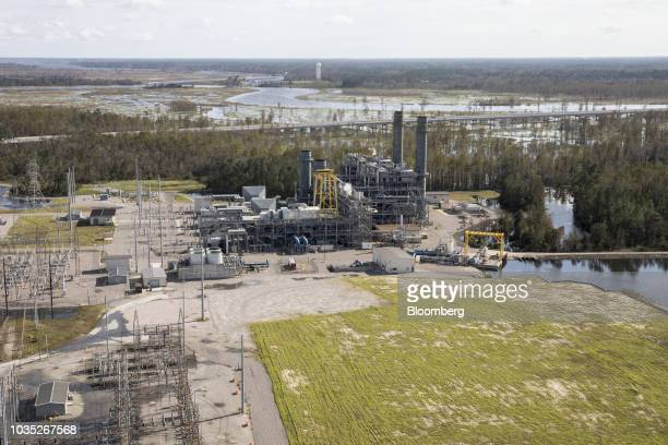 The Duke Energy Corp Sutton Plant is seen in this aerial photograph taken after Hurricane Florence hit in Wilmington North Carolina US on Monday Sept...