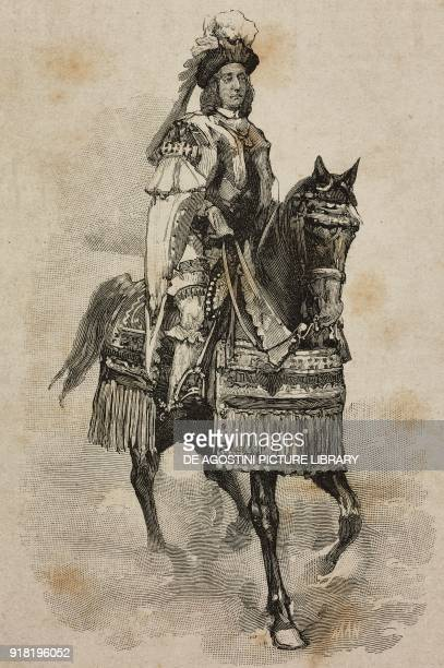 The Duke of Abruzzi Luigi Amedeo of Savoy in the costume of Amedeo VIII of Savoy at the Villa Borghese tournament on the occasion of the silver...
