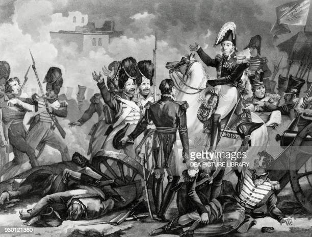 The Duke of Angouleme leading the French troops known as The hundred thousand sons of Saint Louis in Spain Spanish Expedition engraving 19th century
