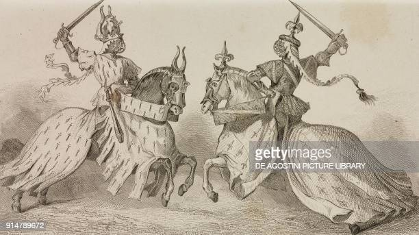The Duke of Bretagne and the Duke of Bourbon fighting jousting tournament of Rene d'Anjou France engraving by Lemaitre from France troiseme partie...