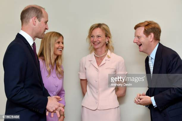 The Duke of Cambridge and Clare Milford Haven speak with Lord and Lady Derby during a visit to James' Place in Liverpool on June 19 2018 in Liverpool...