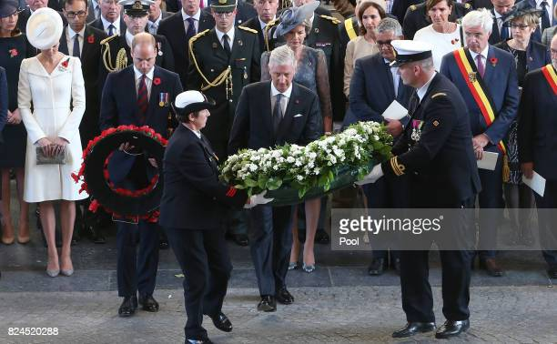 The Duke of Cambridge and King Philippe of Belgium prepare to lay wreaths during the official commemorations marking the 100th anniversary of the...