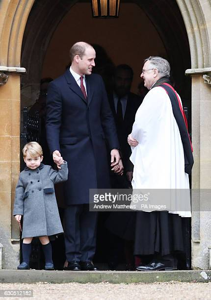 The Duke of Cambridge and Prince George leave following the morning Christmas Day service at St Mark's Church in Englefield Berkshire