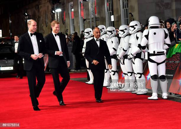 The Duke of Cambridge and Prince Harry attending the european premiere of Star Wars The Last Jedi held at The Royal Albert Hall London