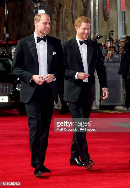 The Duke of Cambridge and Prince Harry attending the european premiere of Star Wars The Last Jedi held at The Royal Albert Hall London Tuesday...