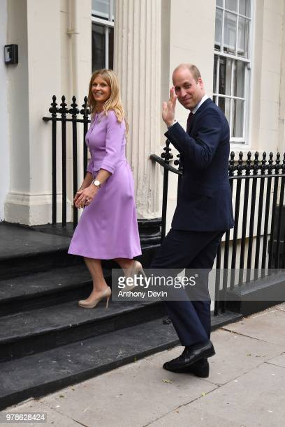 The Duke of Cambridge is greeted by Clare Milford Haven as he arrives at James' Place in Liverpool on June 19 2018 in Liverpool England James' Place...