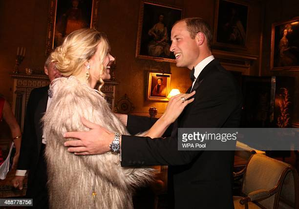 The Duke of Cambridge is greeted by Joss Stone during the Tusk Trust conservation charity 25th Anniversary Ball which honours the charity's impact in...