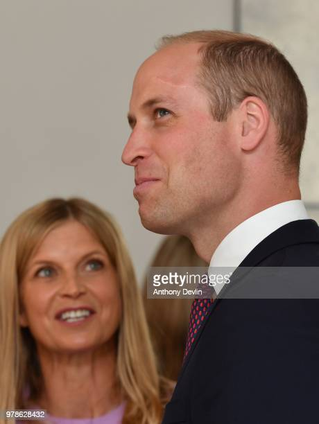The Duke of Cambridge is shown around by Clare Milford Haven as he visits James' Place in Liverpool on June 19 2018 in Liverpool England James' Place...