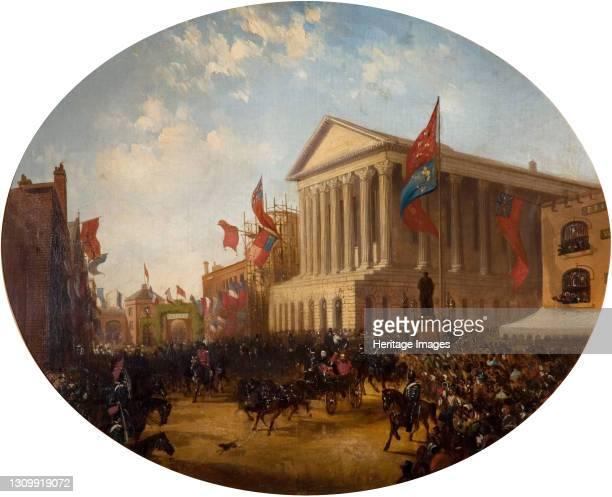 The Duke of Cambridge Leaving the Town Hall, Birmingham, 1857. Artist Samuel Lines. .