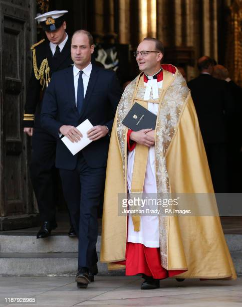 The Duke of Cambridge leaving Westminster Abbey in London following a service of thanksgiving for the life and work of Sir Donald Gosling