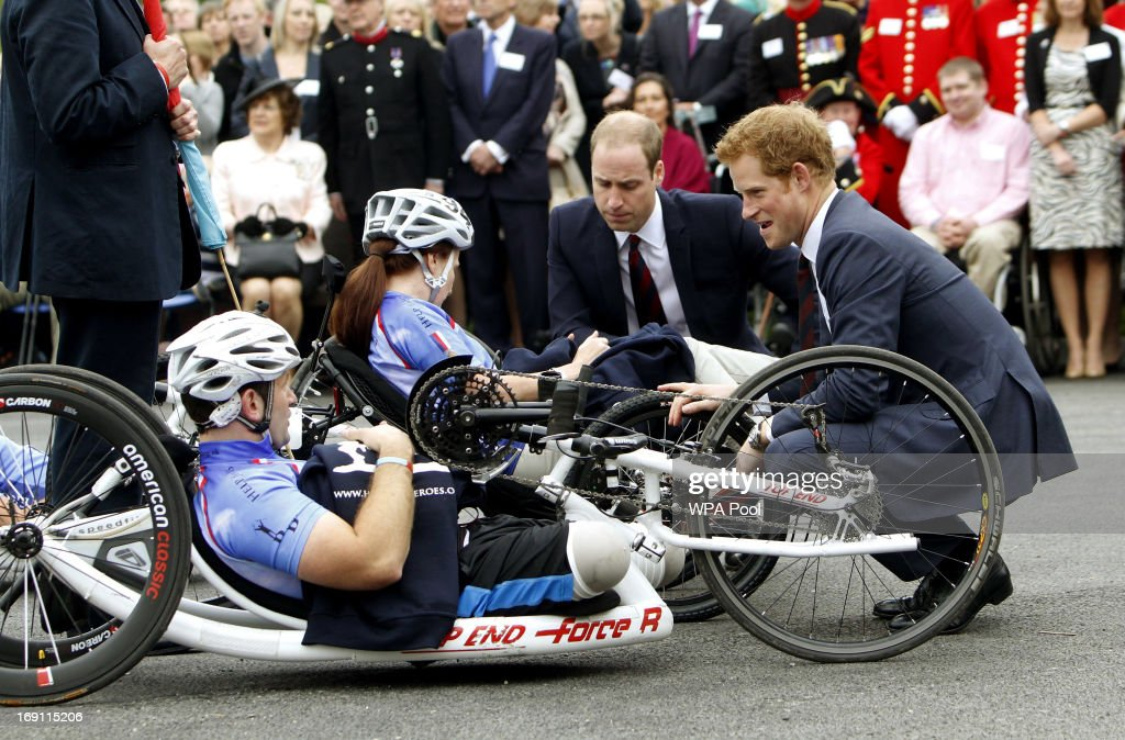 The Duke of Cambridge, Prince William (L) and Prince Harry talk to injured cyclists before they launch the 2013 Hero Ride during their visit to Tedworth House to officially open the charity's Tedworth House recovery centre on May 20, 2013 in Tidworth, England. During their visit the two Royal Princes met with wounded veterans, serving personnel, and their families. Tedworth House in Wiltshire is one of four new units in England which will offer respite care and rehabilitation to injured and sick service personnel, veterans and their families.