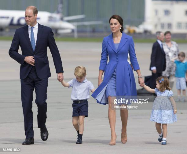 The Duke of Cambridge Prince William the Ducheness of Cambridge Catherine Middleton Princess Charlotte of Cambridge and Prince George are seen at the...