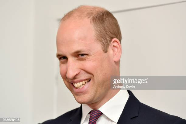 The Duke of Cambridge smiles as he meets families during a visit to James' Place in Liverpool on June 19 2018 in Liverpool England James' Place is a...