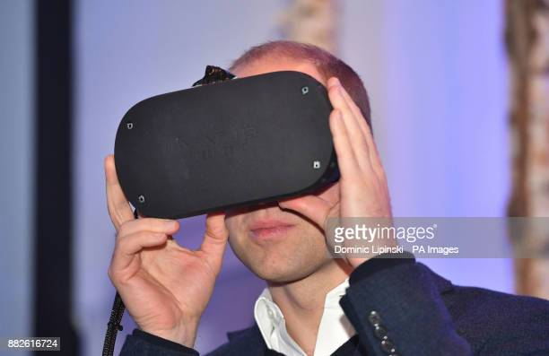 The Duke of Cambridge uses a VR headset as he attends the tech festival Slush in Helsinki Finland
