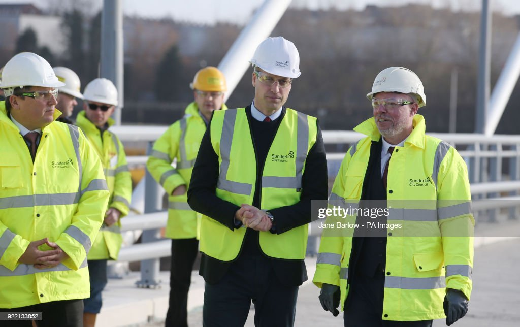The Duke of Cambridge wear a safety helmet and high visibility vest during a visit to the Northern Spire bridge across the River Wear in Sunderland.