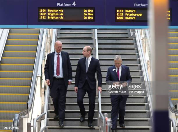 The Duke of Cambridge with Transport Secretary Chris Grayling and Network Rail Chief Executive Mark Carne as he officially opens London Bridge Station