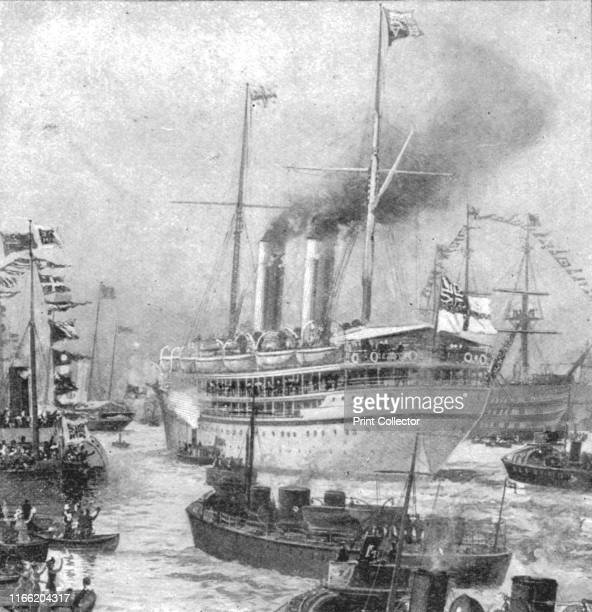 The Duke of Cornwall and York's Colonial Tour 1901 Departure of the 'Ophir' from Portsmouth March 16' 1901 Ships are decorated with flags as crowds...