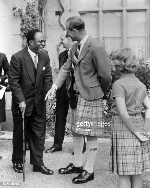 The Duke of Edinburgh and Dr Kwame Nkrumah President of Ghana share a joke centred round the latter's walking stick while Princess Anne looks on in...