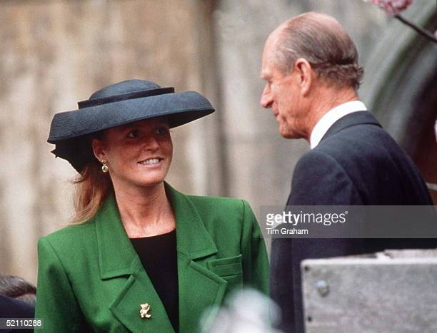 The Duke Of Edinburgh And The Duchess Of York At Easter Service At Windsor Circa 1990s