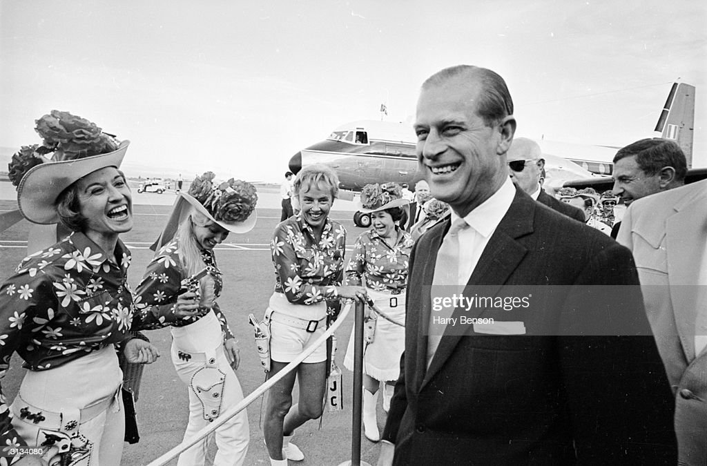 The Duke of Edinburgh at an airport in Palm Springs.