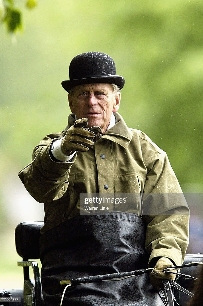 The Duke of Edinburgh at the dressage event of the International Grand Prix in the Royal Windsor Horse Show on May 16, 2003 at Home Park, Windsor Castle, Windsor, England.