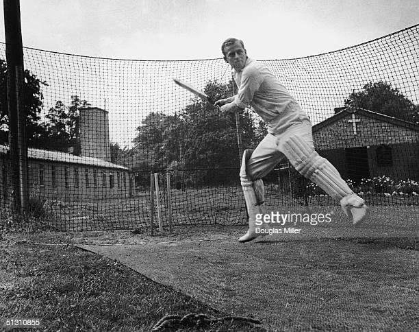 The Duke of Edinburgh batting at the nets 31st July 1947