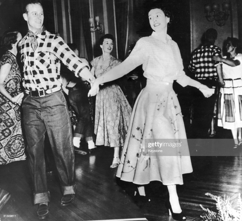 The Duke of Edinburgh dances with his wife, Princess Elizabeth, at a square dance held in their honour in Ottawa, by Governor General Viscount Alexander, 17th October 1951. The dance was one of the events arranged during their Canadian tour.