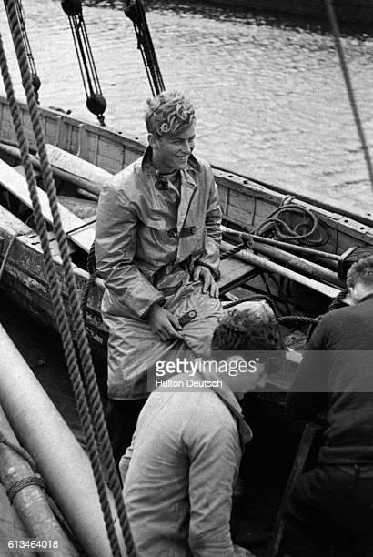 The Duke of Edinburgh during a sailing trip as a young man