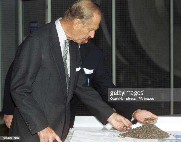 The Duke Of Edinburgh examines some sludge bio pellets at the awardwinning Bran Sands * The Duke officially switched on a new drying machine which...