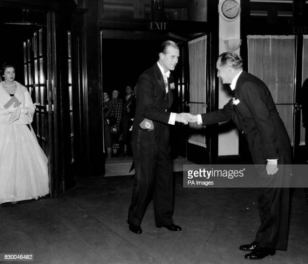The Duke of Edinburgh greets the President of the Taverners JA Huskisson at the Lord's Taverners Ball in Grosvenor House London Behind in Princess...