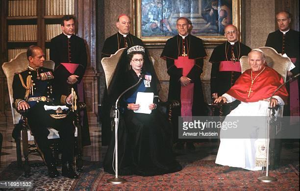 The Duke of Edinburgh HM The Queen Elizabeth II and Pope John Paul II