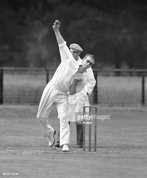 The Duke of Edinburgh in bowling action against an Adlington batsman at Mersham le Hatch Kent