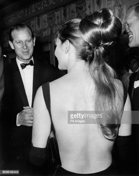 The Duke of Edinburgh meeting actress Diane Cilento at the royal premiere at the Astoria Theatre London of the film 'The Agony and the Ecstasy'