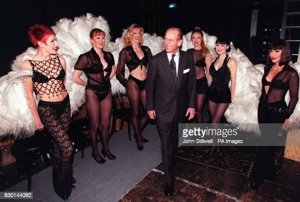 The Duke of Edinburgh meets members of the cast of the West End musical 'Chicago' who he met during a visit to the Adelphi Theatre in London The...