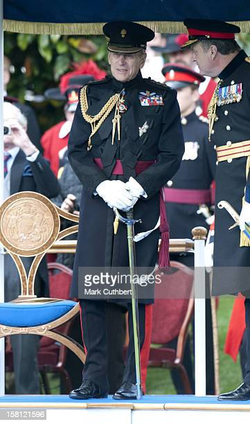 The Duke Of Edinburgh Pictured Whilst Queen Elizabeth Ii Reviews The Company Of Pikemen And Musketeers Of The Honourable Artillery Company At Armoury...
