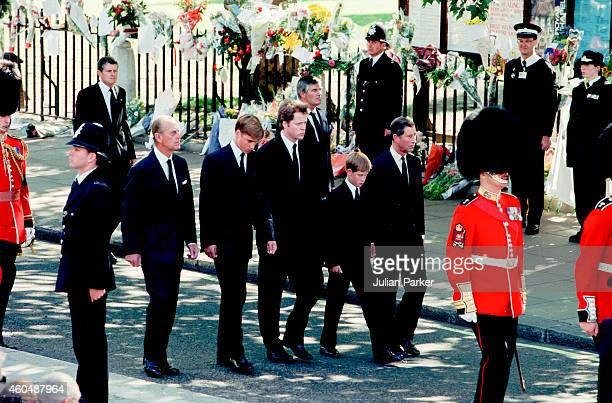 The Duke of Edinburgh Prince William Earl Spencer Prince Harry and Charles Prince of Wales in the Funeral Procession at Diana Princess of Wales's...