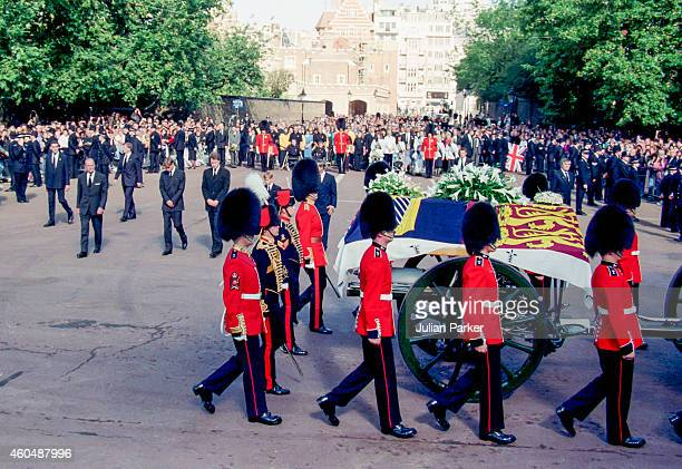 The Duke of Edinburgh Prince William Earl Spencer Prince Harry and Charles Prince of Wales join the Funeral Procession at Diana Princess of Wales's...