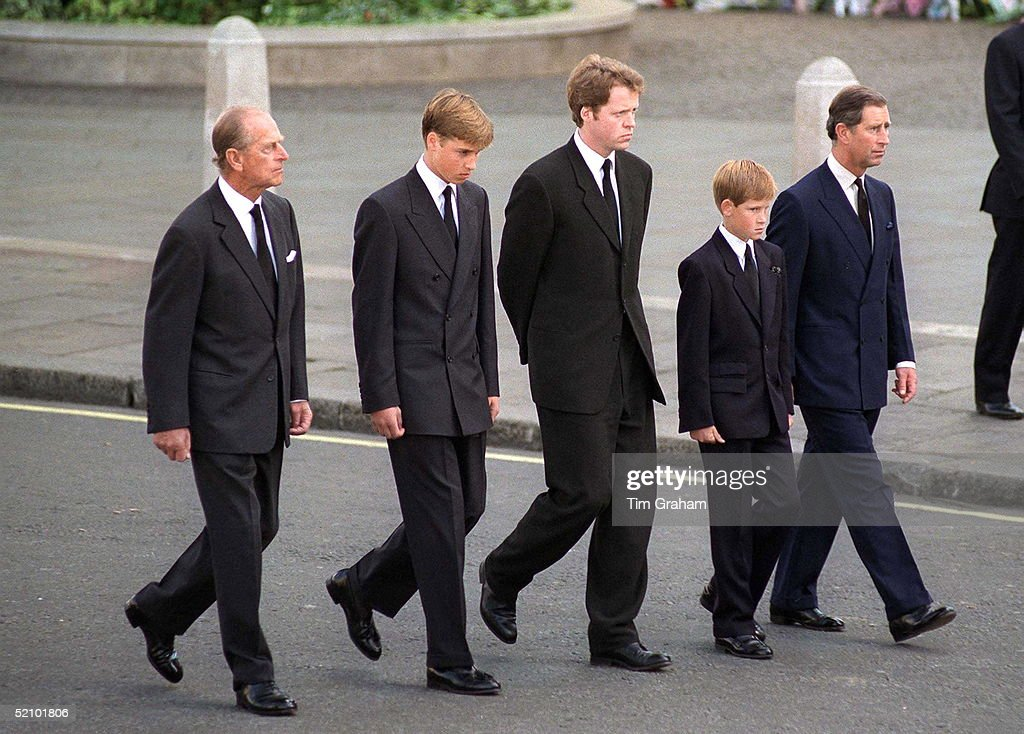 The Duke Of Edinburgh, Prince William, Earl Spencer, Prince Harry And The Prince Of Wales Following The Coffin Of Diana, Princess Of Wales