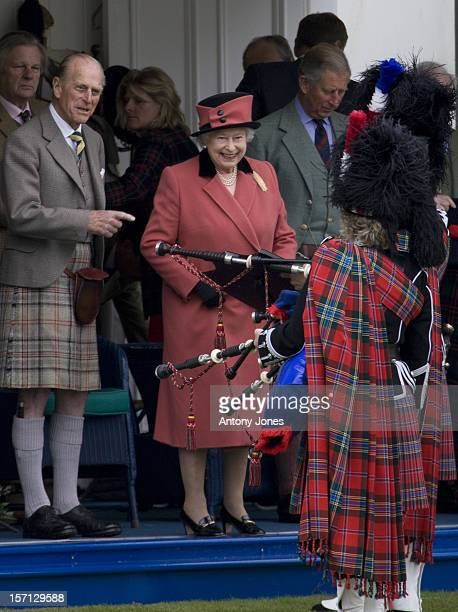 The Duke Of Edinburgh Queen Elizabeth Ii And Prince Charles Attend The Annual Braemar Highland Gathering In Aberdeenshire The Queen Receives A...