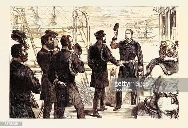 The Duke of Edinburgh Receiving the Commander of the U.S. Frigate Constellation at Queenstown 1880.