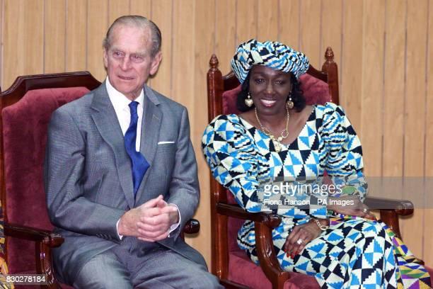 The Duke of Edinburgh sits with Nana Rawlings wife of Ghana's President Flight Lieutenant Jerry Rawlings