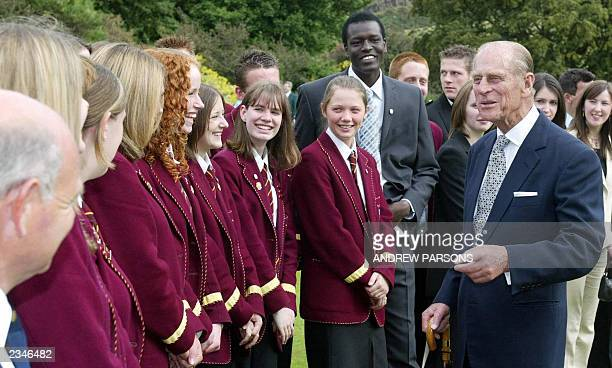 The Duke Of Edinburgh talks to a group from Dundee during the Duke of Edinburgh Gold Award presentation Ceremony at the Palace Of Holyroodhouse...