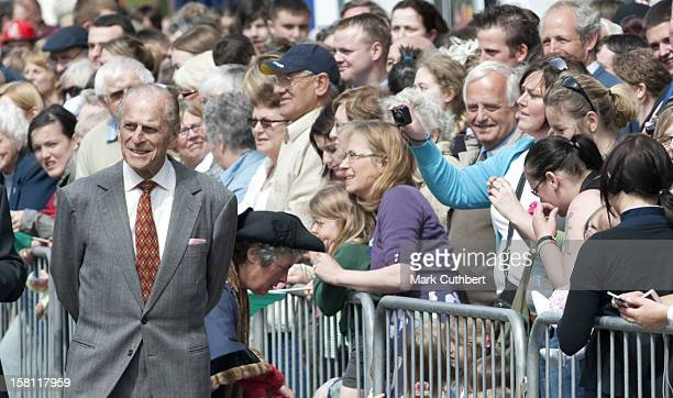The Duke Of Edinburgh Visits The Farmers Market At Welshpool Town Hall, Including The Viewing Of Stalls Follwed By A Walkabout In The High Street.